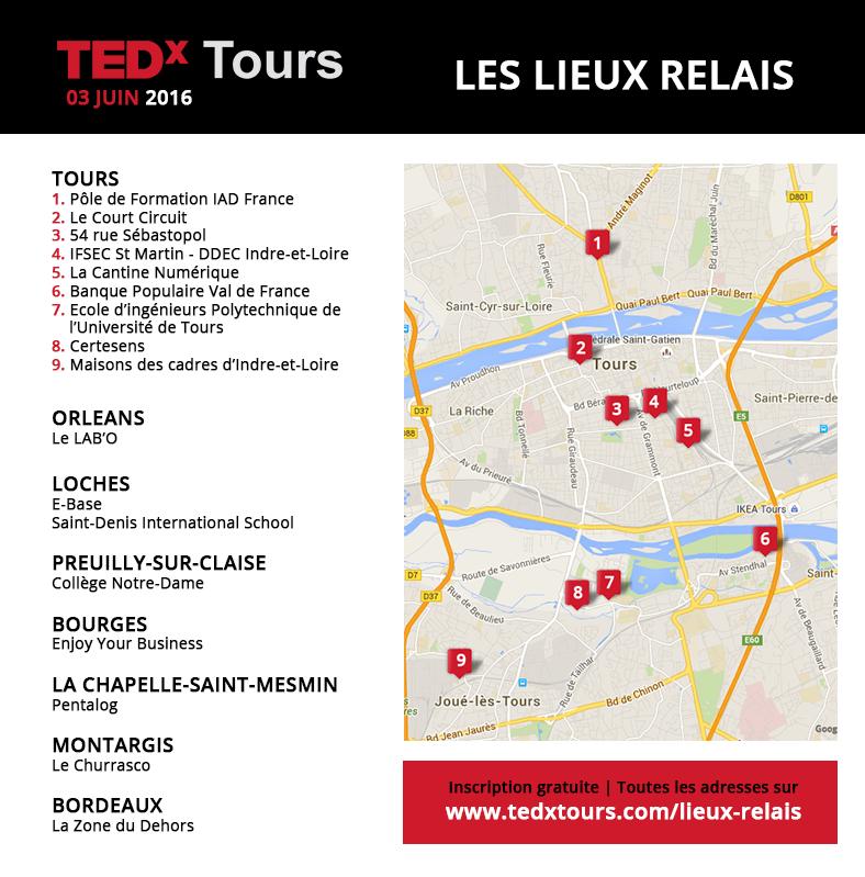 lieux relais de TEDx Tours 2016